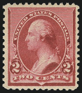 "Sale Number 1014, Lot Number 1454, 1890-93 Issue (Scott 219-229)2c Carmine, Cap on Both ""2""'s (220c), 2c Carmine, Cap on Both ""2""'s (220c)"