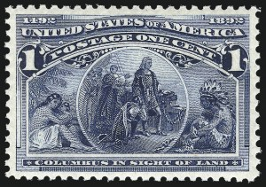 Sale Number 1014, Lot Number 1466, 1c-4c 1893 Columbian Issue (Scott 230-233)1c Columbian (230), 1c Columbian (230)