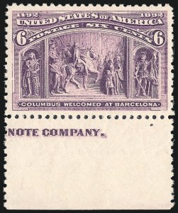 Sale Number 1014, Lot Number 1488, 5c-15c 1893 Columbian Issue (Scott 234-238)6c Columbian (235), 6c Columbian (235)