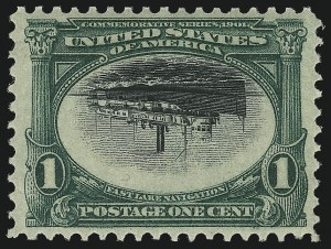 Sale Number 1014, Lot Number 1705, 1901 Pan-American Issue Inverts (Scott 294a, 295a, 296a, 296a-S)1c Pan-American, Center Inverted (294a), 1c Pan-American, Center Inverted (294a)
