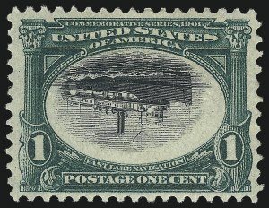 Sale Number 1014, Lot Number 1706, 1901 Pan-American Issue Inverts (Scott 294a, 295a, 296a, 296a-S)1c Pan-American, Center Inverted (294a), 1c Pan-American, Center Inverted (294a)
