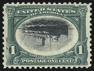 Sale Number 1014, Lot Number 1707, 1901 Pan-American Issue Inverts (Scott 294a, 295a, 296a, 296a-S)1c Pan-American, Center Inverted (294a), 1c Pan-American, Center Inverted (294a)