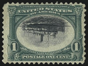 Sale Number 1014, Lot Number 1708, 1901 Pan-American Issue Inverts (Scott 294a, 295a, 296a, 296a-S)1c Pan-American, Center Inverted (294a), 1c Pan-American, Center Inverted (294a)