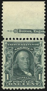 Sale Number 1014, Lot Number 1712, 1902-08 Issues (Scott 300-320a)1c Blue Green (300), 1c Blue Green (300)