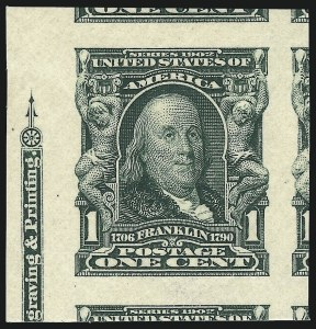 Sale Number 1014, Lot Number 1741, 1902-08 Issues (Scott 300-320a)1c Blue Green, Imperforate (314), 1c Blue Green, Imperforate (314)