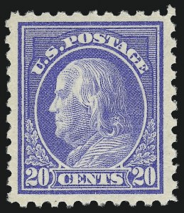 Sale Number 1014, Lot Number 1913, 1912-15 Washington-Franklin Issues (Scott 406-440)20c Ultramarine (438), 20c Ultramarine (438)
