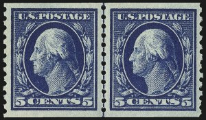 Sale Number 1014, Lot Number 1929, 1914-15 Washington-Franklin Issues (Scott 443-461)5c Blue, Coil (447), 5c Blue, Coil (447)
