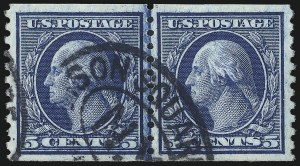 Sale Number 1014, Lot Number 1946, 1914-15 Washington-Franklin Issues (Scott 443-461)5c Blue, Coil (458), 5c Blue, Coil (458)