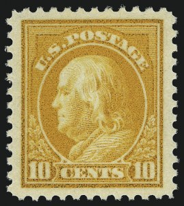 Sale Number 1014, Lot Number 2004, 1917-19 Washington-Franklin Issues (Scott 498f-524)10c Orange Yellow (510), 10c Orange Yellow (510)