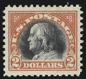Sale Number 1014, Lot Number 2021, 1917-19 Washington-Franklin Issues (Scott 498f-524)$2.00 Orange Red & Black (523), $2.00 Orange Red & Black (523)