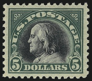Sale Number 1014, Lot Number 2026, 1917-19 Washington-Franklin Issues (Scott 498f-524)$5.00 Deep Green & Black (524), $5.00 Deep Green & Black (524)