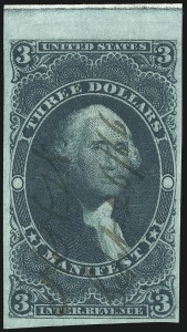 Sale Number 1015, Lot Number 24, First Issue Imperforate$3.00 Manifest, Imperforate (R86a), $3.00 Manifest, Imperforate (R86a)