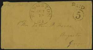 Sale Number 1016, Lot Number 538, Confederate States: Handstamped Paid and Due: Alabama thru GeorgiaKingston Ga. Oct. 24, Kingston Ga. Oct. 24