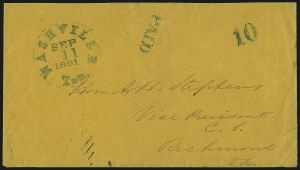 Sale Number 1016, Lot Number 540, Confederate States: Handstamped Paid and Due: KentuckyNashville Ten., Sep. 11, 1861, Nashville Ten., Sep. 11, 1861