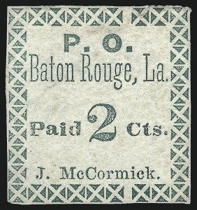 Sale Number 1016, Lot Number 597, Confederate States: Postmasters Provisionals: Madison C.H. thru MilledgevilleBaton Rouge La., 2c Green (11X1), Baton Rouge La., 2c Green (11X1)