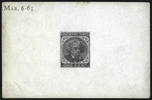 Sale Number 1016, Lot Number 652, Confederate States: General Issue Proofs1c Black, Large Die Trial Color Proof on Glazed Card (14TC1), 1c Black, Large Die Trial Color Proof on Glazed Card (14TC1)