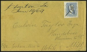 "Sale Number 1016, Lot Number 760, Confederate States: General Issues On Cover: Scott 8 thru 1010c Gray Blue, ""TEN"" (9b), 10c Gray Blue, ""TEN"" (9b)"