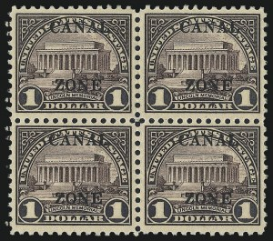 "Sale Number 1017, Lot Number 1041, United States Possessions, Canal Zone1925, $1.00 Violet Brown, Ty. ""B"" Ovpt. (95), 1925, $1.00 Violet Brown, Ty. ""B"" Ovpt. (95)"