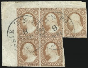 Sale Number 1017, Lot Number 361, 3c 1851-56, Dull Red, Corner Margin Copies, Cont. (Scott 11-11A)3c Dull Red, Ty. II (11A), 3c Dull Red, Ty. II (11A)
