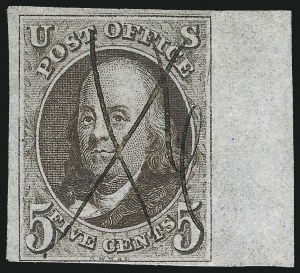 Sale Number 1017, Lot Number 39, 5c 1847 Issue, Sheet Margin Copies (Scott 1)5c Brown, Double Transfer Ty. A (1-A), 5c Brown, Double Transfer Ty. A (1-A)