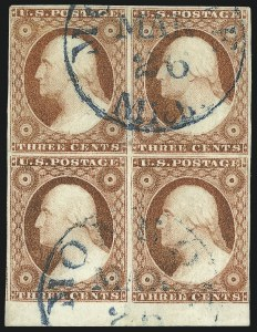 Sale Number 1017, Lot Number 405, 3c 1851-56, Dull Red, Sheet-Margin Copies (Scott 11-11A)3c Dull Red, Ty. II (11A), 3c Dull Red, Ty. II (11A)