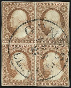 "Sale Number 1017, Lot Number 411, 3c 1851-56, Dull Red, Shades, Varieties and Cancels (Scott 11-11A)3c Dull Red, Ty. II, ""Three Rows"" (11A), 3c Dull Red, Ty. II, ""Three Rows"" (11A)"