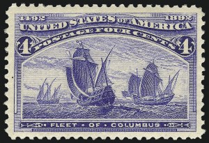 Sale Number 1017, Lot Number 615, 1893 Columbian Issue (Scott 230-245)4c Columbian (233), 4c Columbian (233)
