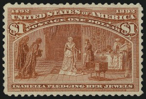 Sale Number 1017, Lot Number 631, 1893 Columbian Issue (Scott 230-245)$1.00 Columbian (241), $1.00 Columbian (241)