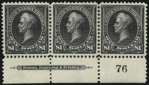 Sale Number 1017, Lot Number 690, 1895 Watermarked Bureau Issue (Scott 264-278)$1.00 Black, Ty. I (276-276A-276A), $1.00 Black, Ty. I (276-276A-276A)