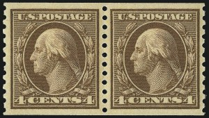 Sale Number 1017, Lot Number 821, 1912-15 Issues (Scott 405-460)4c Brown, Coil (457), 4c Brown, Coil (457)