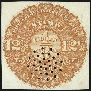 Sale Number 1018, Lot Number 1, 1866 Issue (Scott REA1-REA6)1866, 12-1/2c Orange, -1/8bbl., Beer (REA1; Priester 1A), 1866, 12-1/2c Orange, -1/8bbl., Beer (REA1; Priester 1A)