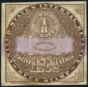 Sale Number 1018, Lot Number 29, 1870 Issue (Scott REA14-REA19a)1870, 12-1/2c Brown, Lilac Security Lines, -1/8bbl., Beer (REA14; Priester 14B), 1870, 12-1/2c Brown, Lilac Security Lines, -1/8bbl., Beer (REA14; Priester 14B)