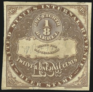 Sale Number 1018, Lot Number 31, 1870 Issue (Scott REA14-REA19a)1870, 12-1/2c Brown, Yellow Security Lines, -1/8bbl., Beer (REA14a; Priester 14A), 1870, 12-1/2c Brown, Yellow Security Lines, -1/8bbl., Beer (REA14a; Priester 14A)