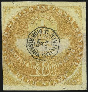 Sale Number 1018, Lot Number 34, 1870 Issue (Scott REA14-REA19a)1870, 16-2/3c Yellow Ochre, Lilac Security Lines, -1/6bbl., Beer (REA15c; Priester 15aB), 1870, 16-2/3c Yellow Ochre, Lilac Security Lines, -1/6bbl., Beer (REA15c; Priester 15aB)