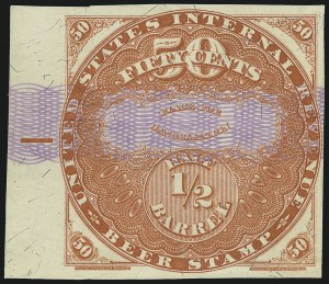 Sale Number 1018, Lot Number 35, 1870 Issue (Scott REA14-REA19a)1870, 50c Red, Lilac Security Lines, -1/2 bbl., Beer Stamp (REA17; Priester 18B), 1870, 50c Red, Lilac Security Lines, -1/2 bbl., Beer Stamp (REA17; Priester 18B)