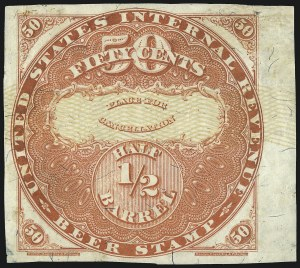 Sale Number 1018, Lot Number 36, 1870 Issue (Scott REA14-REA19a)1870, 50c Red, Yellow Security Lines, -1/2 bbl., Beer (REA17a; Priester 18A), 1870, 50c Red, Yellow Security Lines, -1/2 bbl., Beer (REA17a; Priester 18A)