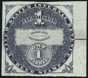 Sale Number 1018, Lot Number 40, 1870 Issue (Scott REA14-REA19a)1870, $1.00 Blue, Lilac Security Lines, 1bbl., Beer (REA18; Priester 19B), 1870, $1.00 Blue, Lilac Security Lines, 1bbl., Beer (REA18; Priester 19B)