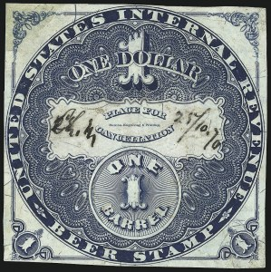Sale Number 1018, Lot Number 41, 1870 Issue (Scott REA14-REA19a)1870, $1.00 Blue, Lilac Security Lines, 1bbl., Beer (REA18; Priester 19B), 1870, $1.00 Blue, Lilac Security Lines, 1bbl., Beer (REA18; Priester 19B)
