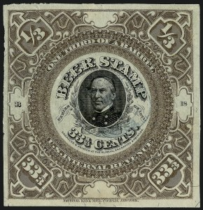 Sale Number 1018, Lot Number 54, 1871 Issue (Scott REA20-REA29c)1871, 33-1/3c Violet Brown on White Silk Paper, -1/3bbl., Beer (REA24; Priester 24A), 1871, 33-1/3c Violet Brown on White Silk Paper, -1/3bbl., Beer (REA24; Priester 24A)