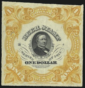 Sale Number 1018, Lot Number 56, 1871 Issue (Scott REA20-REA29c)1871, $1.00 Yellow Orange, 1bbl., Beer (REA27; Priester 28A), 1871, $1.00 Yellow Orange, 1bbl., Beer (REA27; Priester 28A)