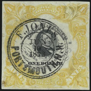 Sale Number 1018, Lot Number 58, 1871 Issue (Scott REA20-REA29c)1871, $1.00 Yellow Orange on Pinkish Gray Silk, 1bbl., Beer (REA27a; Priester 28B), 1871, $1.00 Yellow Orange on Pinkish Gray Silk, 1bbl., Beer (REA27a; Priester 28B)
