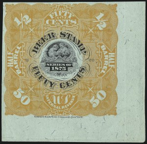 Sale Number 1018, Lot Number 68, 1875 Issue (Scott REA33-REA36)1875, 50c Orange, -1/2bbl., Beer (REA34; Priester 35), 1875, 50c Orange, -1/2bbl., Beer (REA34; Priester 35)