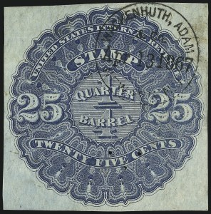 Sale Number 1018, Lot Number 7, 1866 Issue (Scott REA1-REA6)1866, 25c Blue, -1/4bbl., Beer, Silk Paper (REA3b; Priester 3bB), 1866, 25c Blue, -1/4bbl., Beer, Silk Paper (REA3b; Priester 3bB)