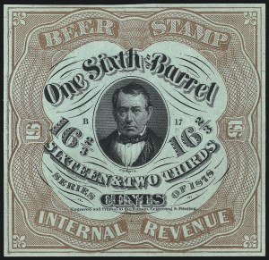 "Sale Number 1018, Lot Number 75, 1878 Issue (Scott REA37b-REA43f)1878, 16-2/3c Light Brown on Green Silk, -1/6bbl., Beer, One Line Under ""Cents"" (REA38b; Priester 39bA), 1878, 16-2/3c Light Brown on Green Silk, -1/6bbl., Beer, One Line Under ""Cents"" (REA38b; Priester 39bA)"