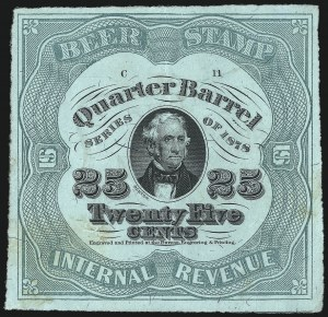 Sale Number 1018, Lot Number 78, 1878 Issue (Scott REA37b-REA43f)1878, 25c Green on Green Silk, -1/4bbl., Beer (REA39b; Priester 40A), 1878, 25c Green on Green Silk, -1/4bbl., Beer (REA39b; Priester 40A)