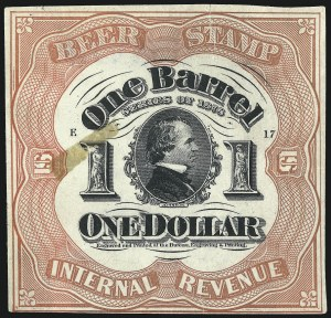 Sale Number 1018, Lot Number 85, 1878 Issue (Scott REA37b-REA43f)1878, $1.00 Red on Pale Green, 1bbl., Beer (REA42c; Priester 43C), 1878, $1.00 Red on Pale Green, 1bbl., Beer (REA42c; Priester 43C)