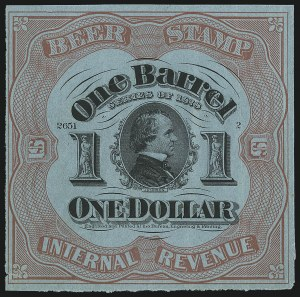 Sale Number 1018, Lot Number 86, 1878 Issue (Scott REA37b-REA43f)1878, $1.00 Red on Light Blue, 1bbl., Beer (REA42d; Priester 43D), 1878, $1.00 Red on Light Blue, 1bbl., Beer (REA42d; Priester 43D)