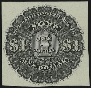 Sale Number 1018, Lot Number 9, 1866 Issue (Scott REA1-REA6)1866, $1.00 Black, 1bbl., Beer (REA5; Priester 5A), 1866, $1.00 Black, 1bbl., Beer (REA5; Priester 5A)