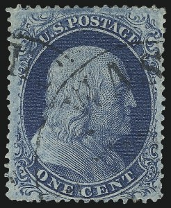 Sale Number 1019, Lot Number 364, 1c-5c 1857-60 Issue (Scott 18-30)1c Blue, Ty. II (20), 1c Blue, Ty. II (20)