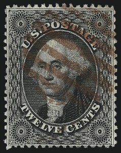 Sale Number 1019, Lot Number 380, 10c-90c 1857-60 Issue and 1875 Reprint (Scott 32-47)12c Black, Plate 1 (36), 12c Black, Plate 1 (36)